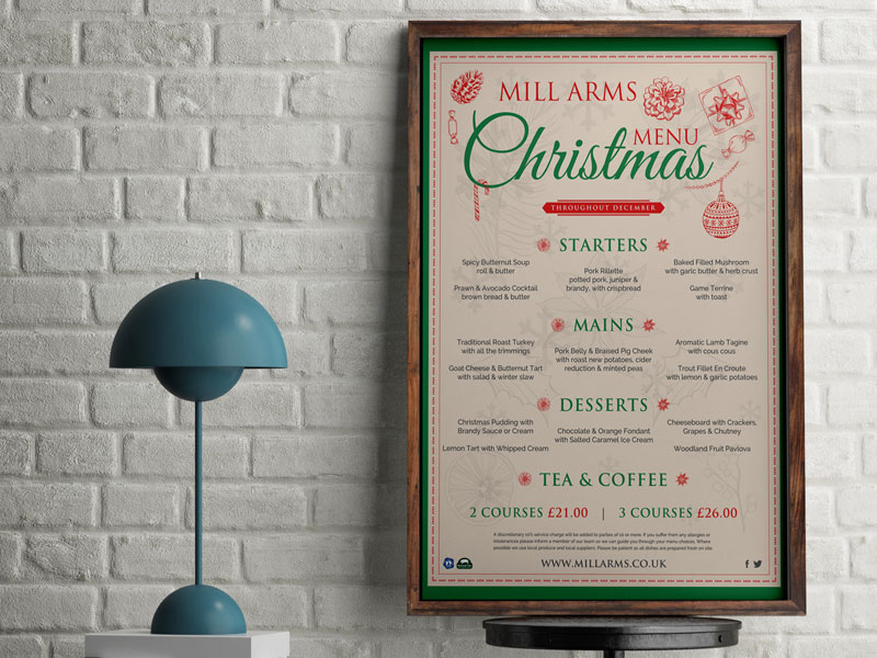 the mill arms menus christmas menus leaflets posters tentcards