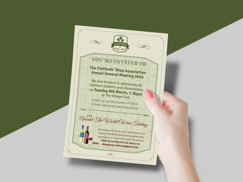 invitation-design-clatfords-village-store